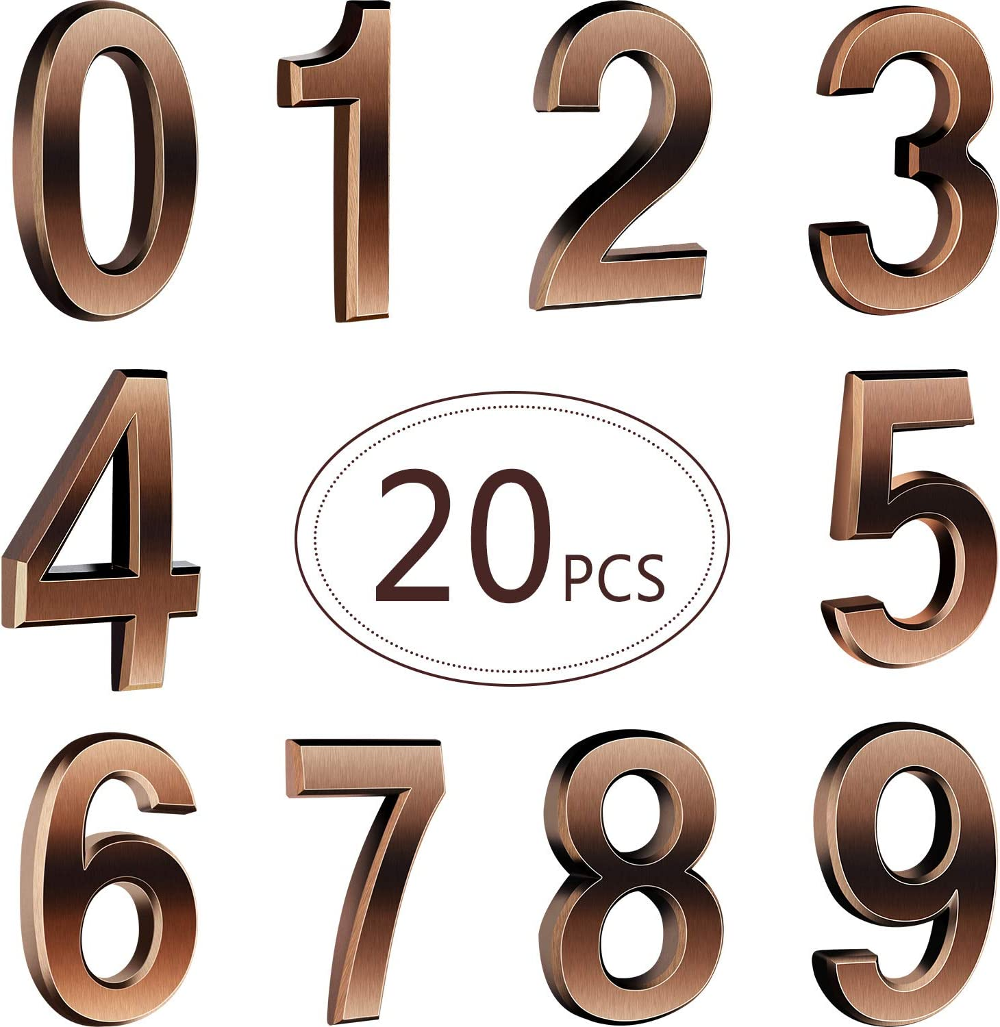 20 Pieces 2.75inch Self-Adhesive Door House Numbers Mailbox Numbers Street Address Numbers for Mailbox Signs, 0 to 9 (2.76 inch, Bronze)