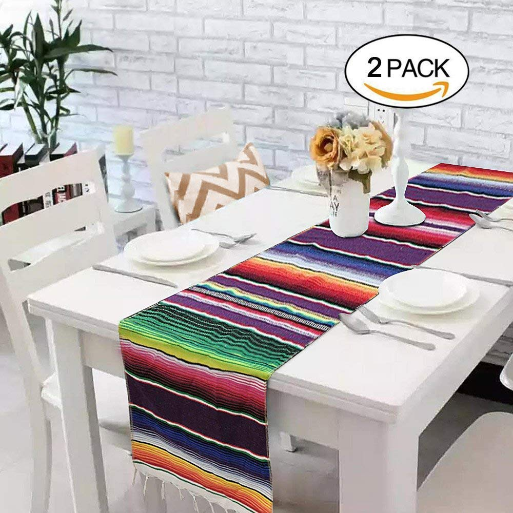2 Pack Mexican Serape Table Runner 14 x 84 Inch for Mexican Party Wedding Decorations Outdoor Picnics Dining Table, Fringe Cotton Handwoven Table Runners by Focushow (Image #2)