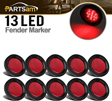 2.5 Round Led Marker Lights Partsam 10Pcs 2.5 Round Red Led and Side Marker Lights Kit 13 Diodes with Light Grommet and Wire Pigtail Truck Trailer Rv Flush Mount Waterproof 12V Sealed