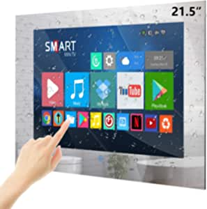 Haocrown 21.5 inch Touch Screen Waterproof TV for Bathroom Smart Mirror TV with Android 9.0 System IP66 Waterproof Shower Television with Built-in DTV(ATSC) Wi-Fi(2021 Mode)