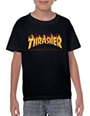 Thrasher Magazine Youth Kids Short Sleeve Baseball T Shirts