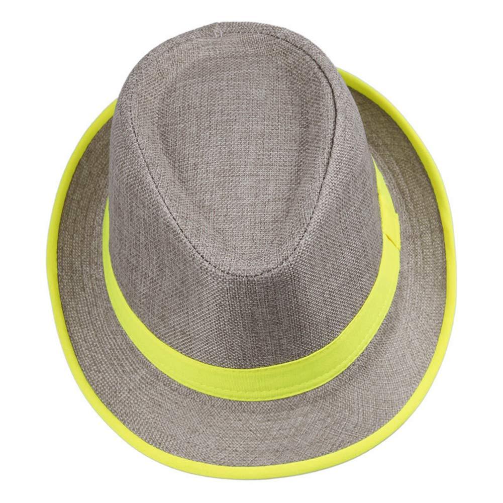 WONNA Unisex Neon Brim Fedora Gangster Cap Summer Fashion Beach Hat Soft Straw Panama Hat