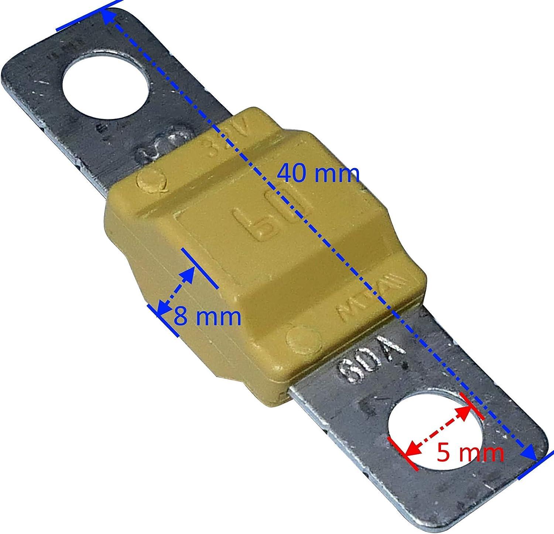 Aerzetix C10054 Sicherung Groß Gelb Midi 60a 32v 40mm Für Auto Lkw Dienstprogramm Auto