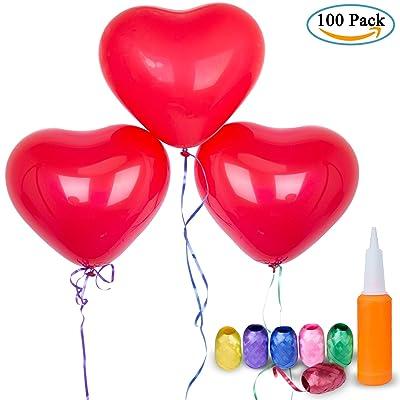 Corazón Globos Decoración, Diealles 100pcs Rojo en Forma de Corazón Globos con Bomba y 6 Cinta para Fiesta Cumpleaños Boda Colorido, día, Regalo de San Valentín Amor y Decoración: Juguetes y juegos