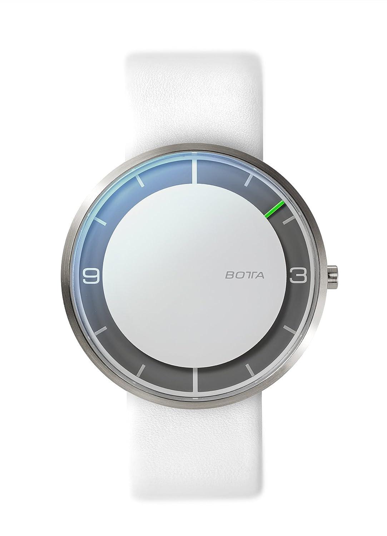 Botta-Design NOVA titan Armbanduhr - Einzeigeruhr - Titan - weißes Zifferblatt - Lederband