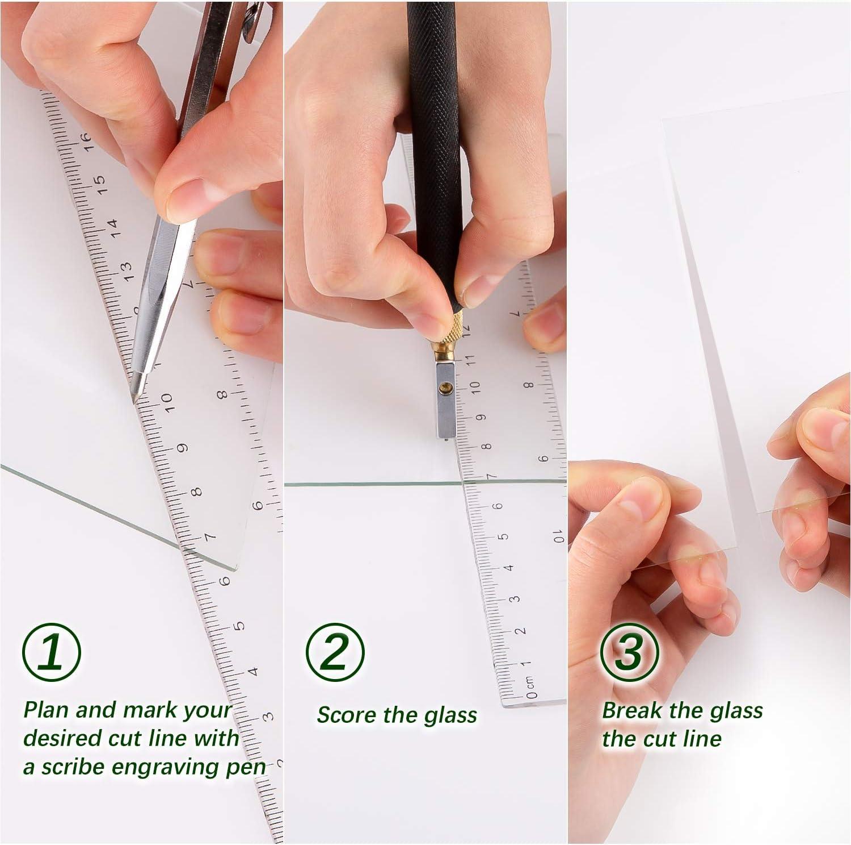 2 mm-20 mm SAVITA 6pcs Ensemble Doutils pour Coupe-verre M/étal Stylo de Coupe pour Carreaux de Verre Avec 2 Lames Compte-gouttes Dhuile et Tournevis