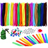 Caydo 910 Pieces Pipe Cleaners Set, Including 360 Pcs 20 Colors Chenille Stems, 300 Pcs 4 Size Wiggle Googly Eyes, 200 Pcs Pom Poms and 50 Pcs Craft Sticks