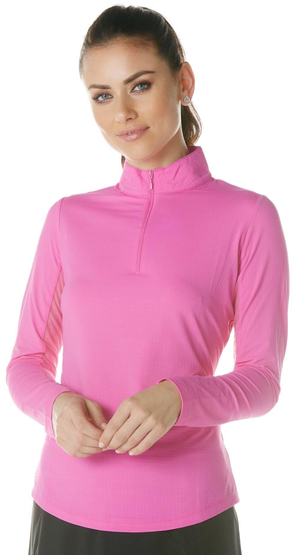 IBKUL Solid Mock Neck Top - 80000 (Hot Pink, X-Small) by IBKUL