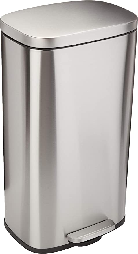 Amazon Com Amazon Basics 30 Liter 7 9 Gallon Gallon Soft Close Trash Can With Foot Pedal Stainless Steel Satin Nickel Finish Home Kitchen
