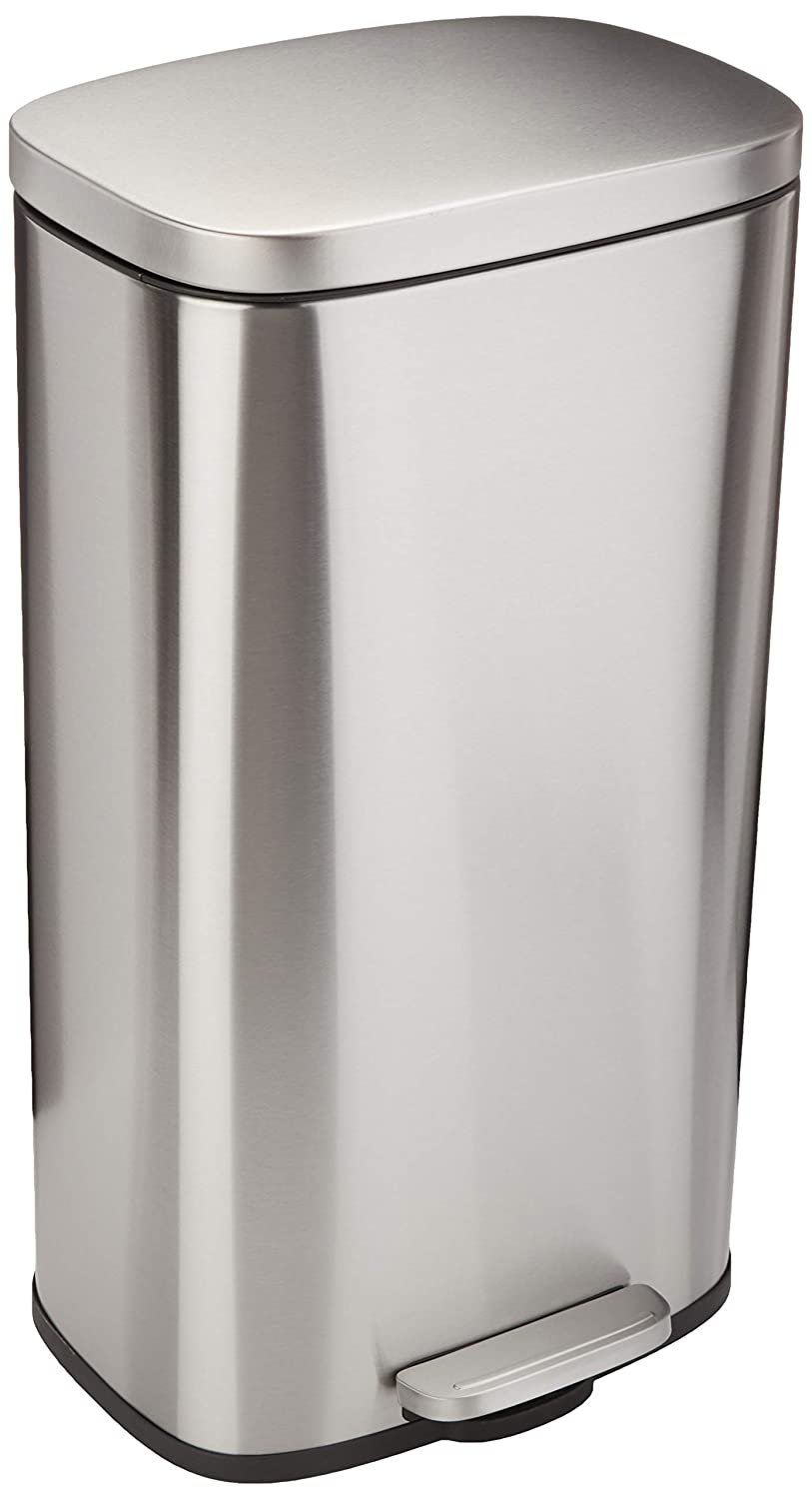 AmazonBasics Rectangle Soft-Close Trash Can - 30L, Satin Nickel