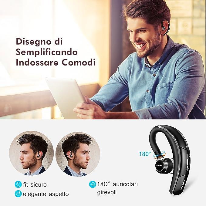 Wiko iPhone etc. Mpow Oreillette Bluetooth sans Fil en Voiture Kit Oreillette Bluetooth avec Micro CVC 6.0 // 280H dAutonomie Ecouteur Invisible Mains Libre Compatible avec Samsung Huawei