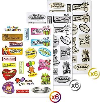 Starplast Pack 18 Hojas de Pegatinas Adhesivas de Felicitación ...