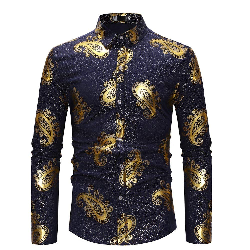GREFER Personality T Shirt Men's Long Sleeve Painting Lapel Button Top Casual Blouse Navy by GREFER