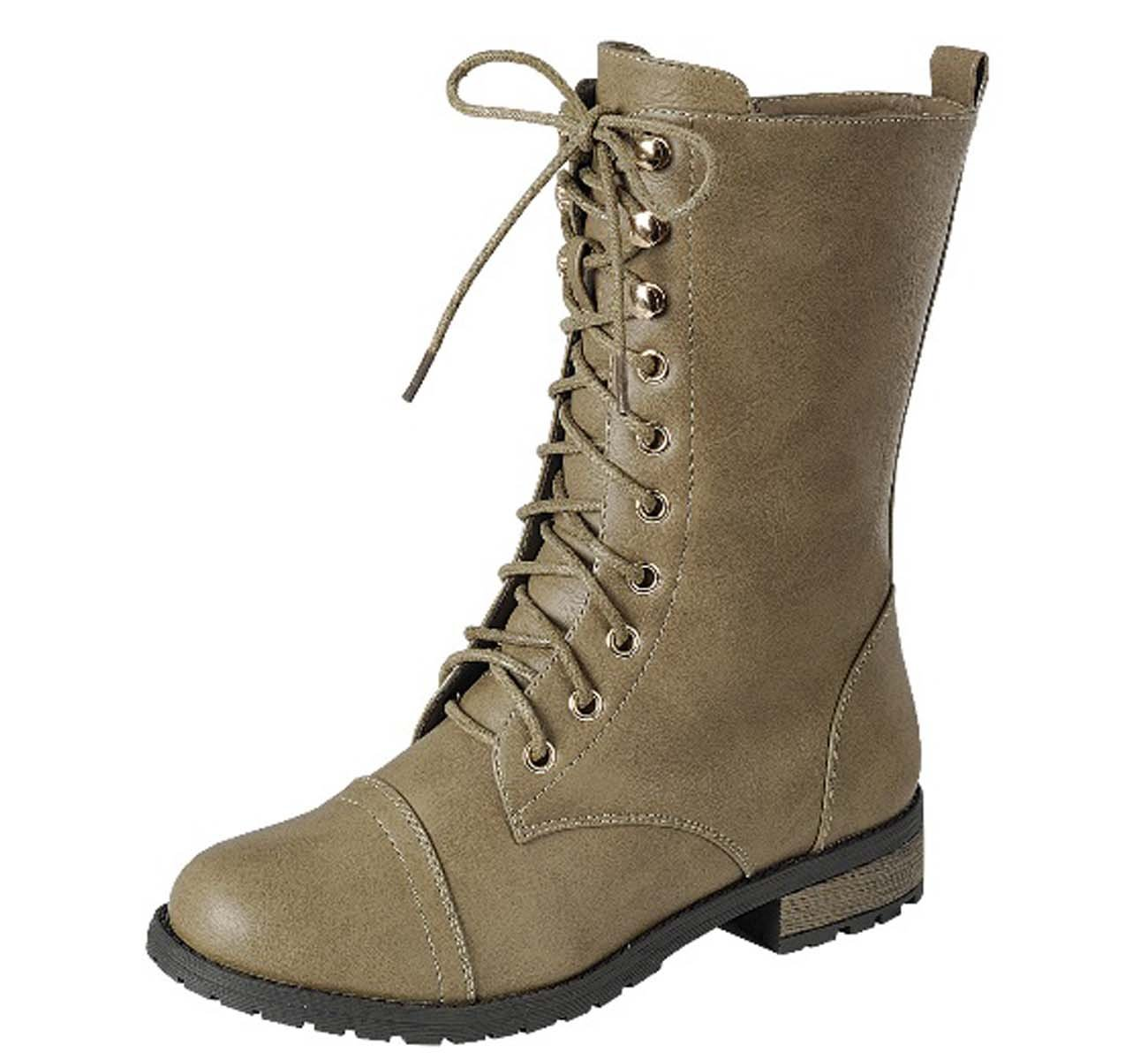 Top Moda Women's Pack-72 Lace up Combat Boot (8.5 B(M) US, Taupe 34)