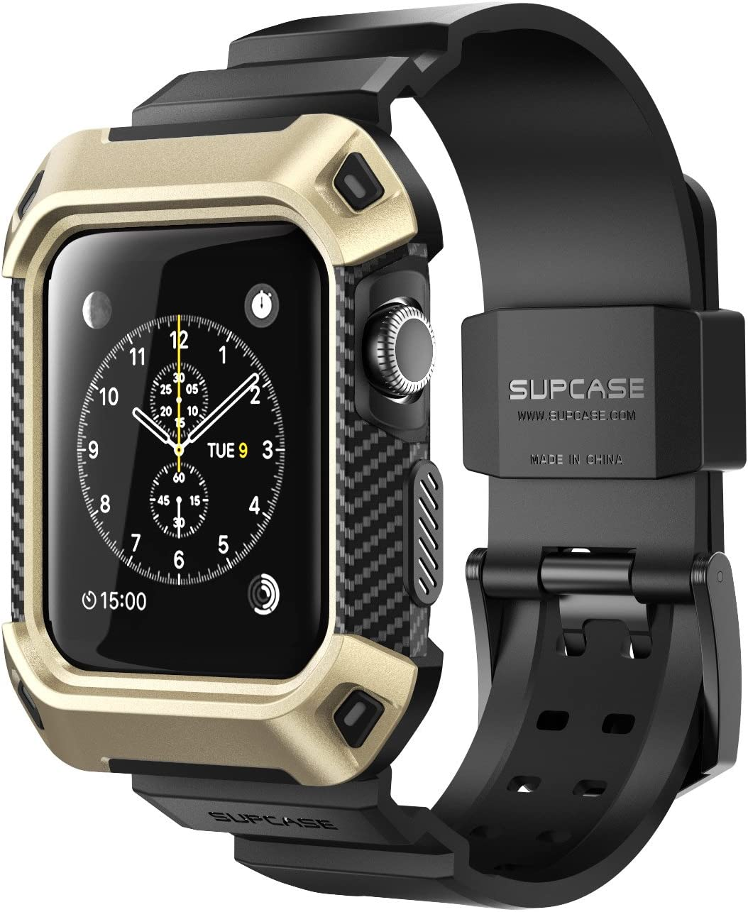 SUPCASE [Unicorn Beetle Pro] Case for Apple Watch 3 [42mm], Rugged Protective Case with Strap Bands for Apple Watch Series 3/2/1 (Gold)