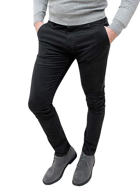 prezzo competitivo d1f2f 33d92 Evoga Pantaloni Casual Uomo Invernali Slim Fit Nero