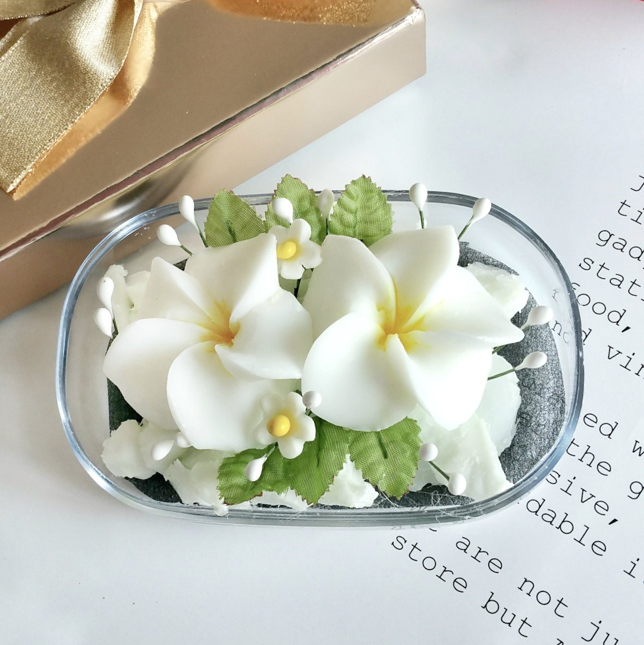 Double White Plumeria Hand Carved in Soap Bar with Jasmine Aroma Essential Oil, Decorative Soap Carving by Thai Artisan