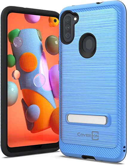 CoverON Metal Kickstand for Samsung Galaxy A11 Case and Screen Protector Reinforced Magnetic Stand Rugged Phone Cover Blue