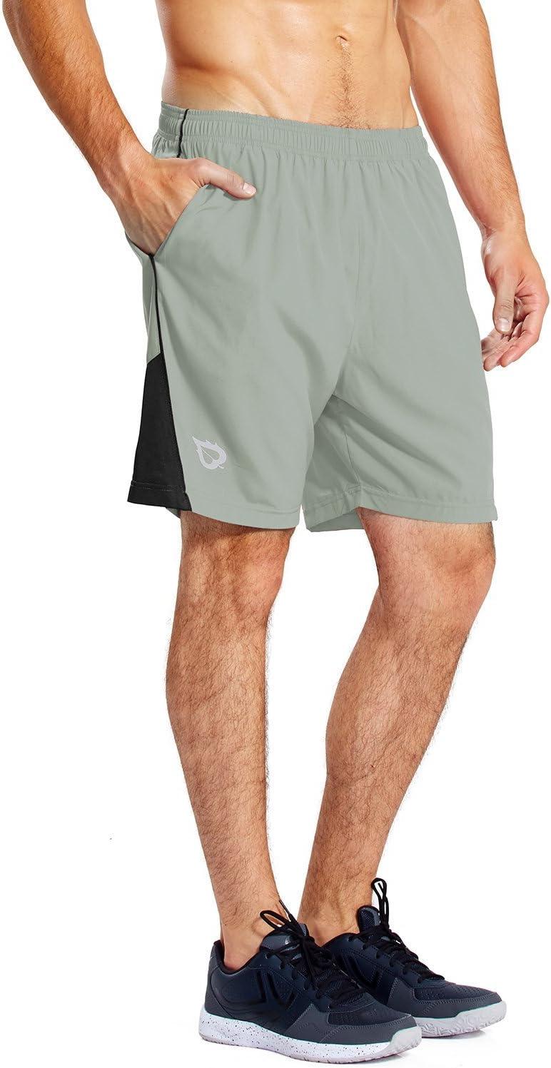 Baleaf da Uomo 17,8/cm ad Asciugatura Rapida Allenamento Pantaloncini da Corsa in Rete Tasche con Cerniera