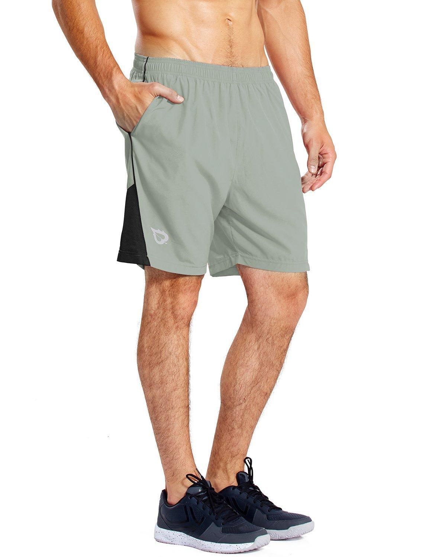Baleaf Men's 7 Inches Quick Dry Workout Running Shorts Mesh Liner Zip Pockets Light-Grey Size M by Baleaf