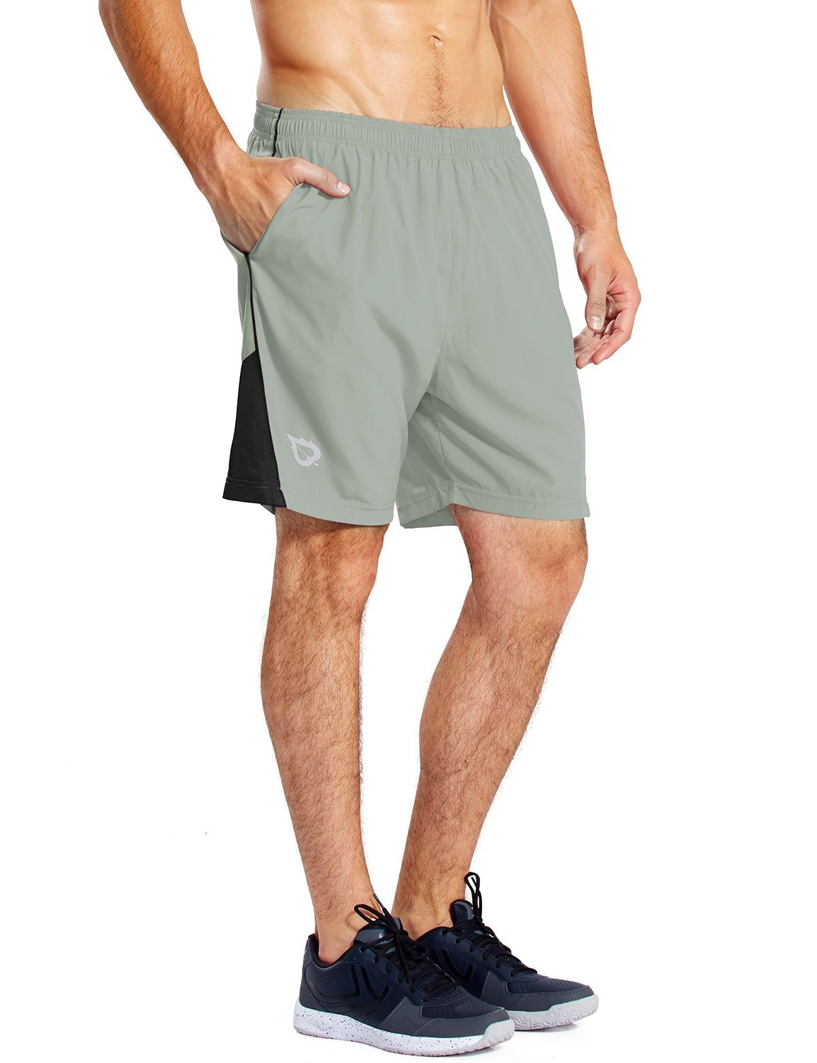 Baleaf Men's 7 Inches Quick Dry Workout Running Shorts Mesh Liner Zip Pockets Light-Grey Size S
