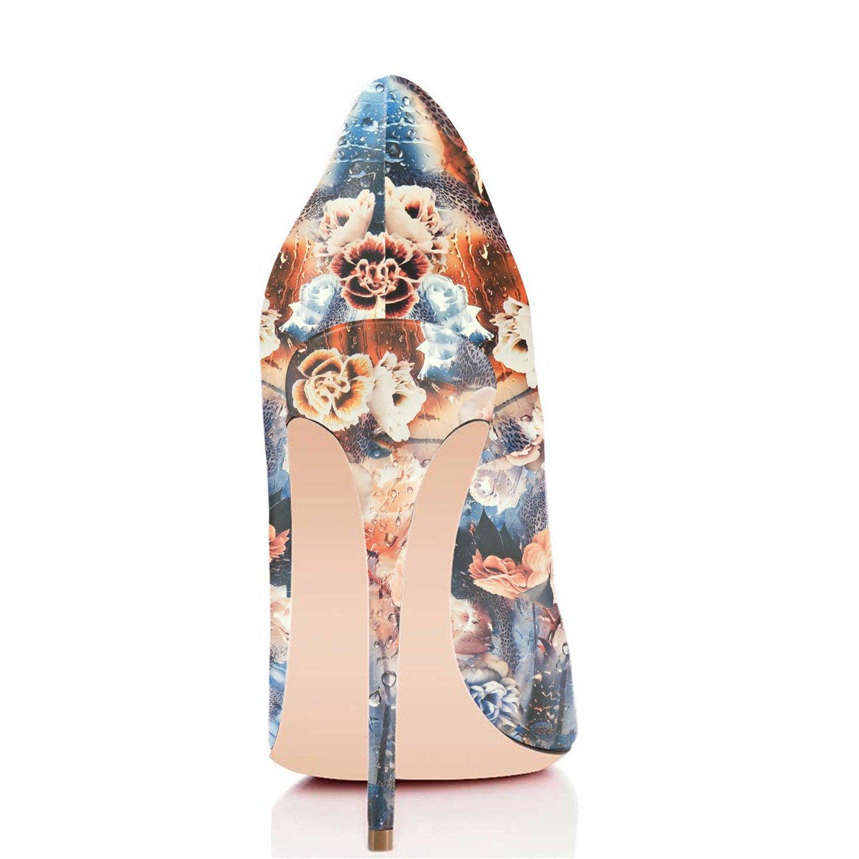 FSJ Women Fashion High Heel Stilettos Pointed Toe Pumps Evening Dress Printed Shoes Size 4-15 US B07DRCYQ7X 5 B(M) US Floral Print