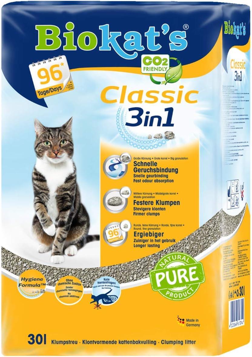 Biokats Classic 3 in 1 lettiera per gatti senza profumo lettiera per gatti di alta qualit/à con 3 diverse dimensioni di grano.