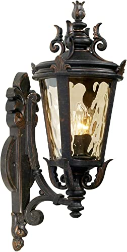 Casa Marseille Traditional Outdoor Wall Light Fixture Mediterranean Veranda Bronze Scroll 22″ Champagne Hammered Gla