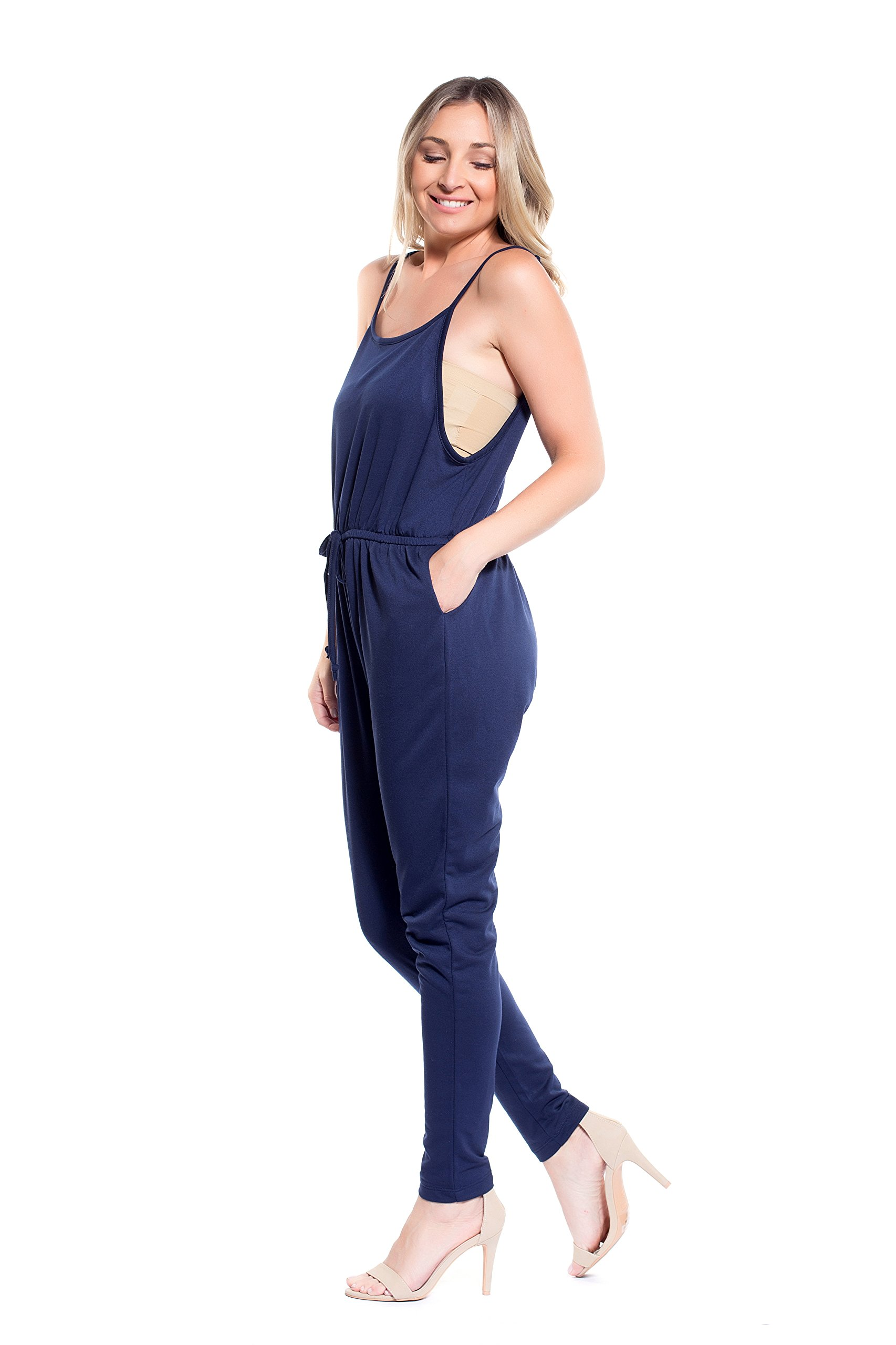 Instar Mode Women's Classic Casual Overalls Jumpsuits in Various Styles (RL22115 Navy, Medium)