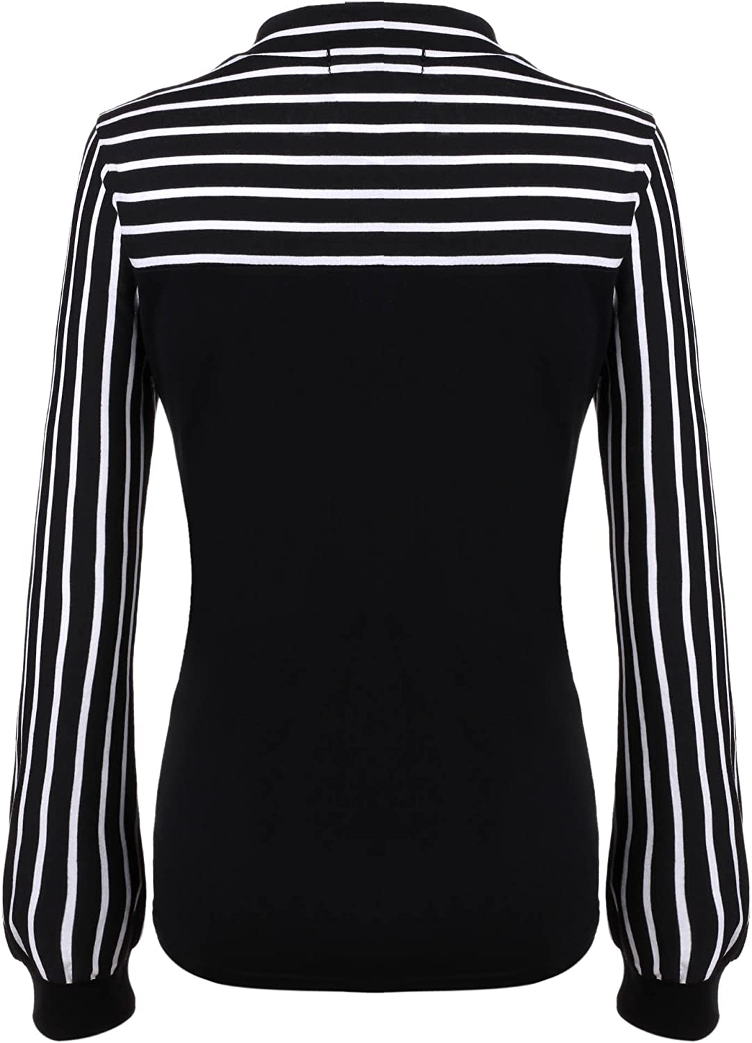 Women's Tie-Bow Neck Striped Blouse Long Sleeve Shirt Office Work Splicing Blouse Shirts Tops: Clothing
