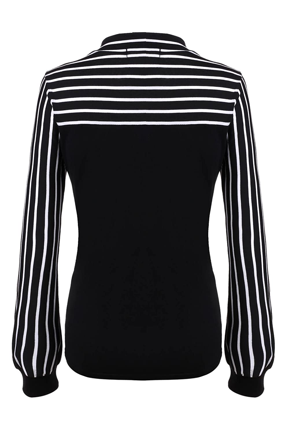 64cc8bac930 Amazon.com: Women's Tie-Bow Neck Striped Blouse Long Sleeve Shirt Office  Work Splicing Blouse Shirts Tops: Clothing
