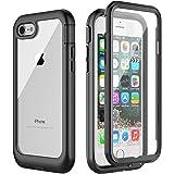 iPhone8 ケース iPhone7 ケース 360全面保護 米軍MIL規格 耐衝撃 防塵 薄型 軽量 ワイヤレス充電 指紋認証対応 クリアな裏面 脱着簡単 画面保護フィルム付き フィット感が良い 楽に操作 アウトドア適 スポーツ 安心感 アイフォン7/8 ケース 4.7インチ(黒色)