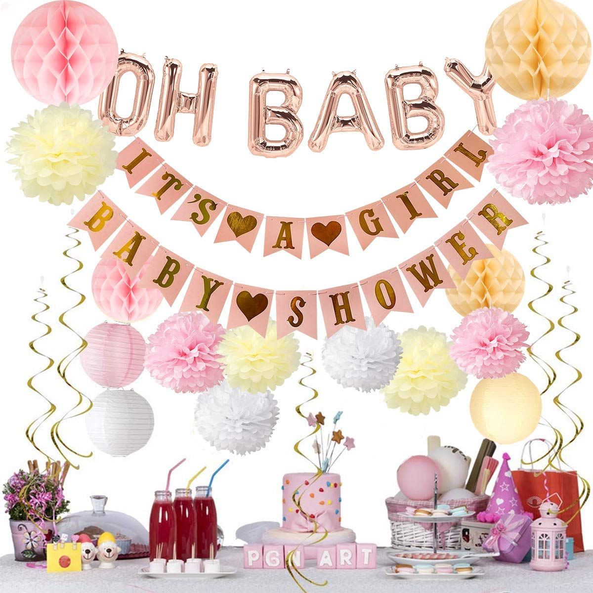 Baby Shower Decorations, Conthfut 19 PCS It's A Girl Baby Shower Kit with Oh Baby decorations and baby shower favors decor.