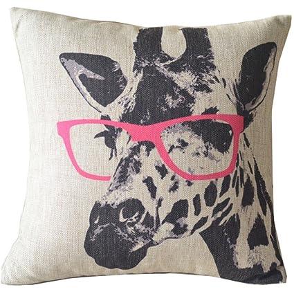 YINGKE dibujos animados jirafa rosa gafas Lino y Algodón ...