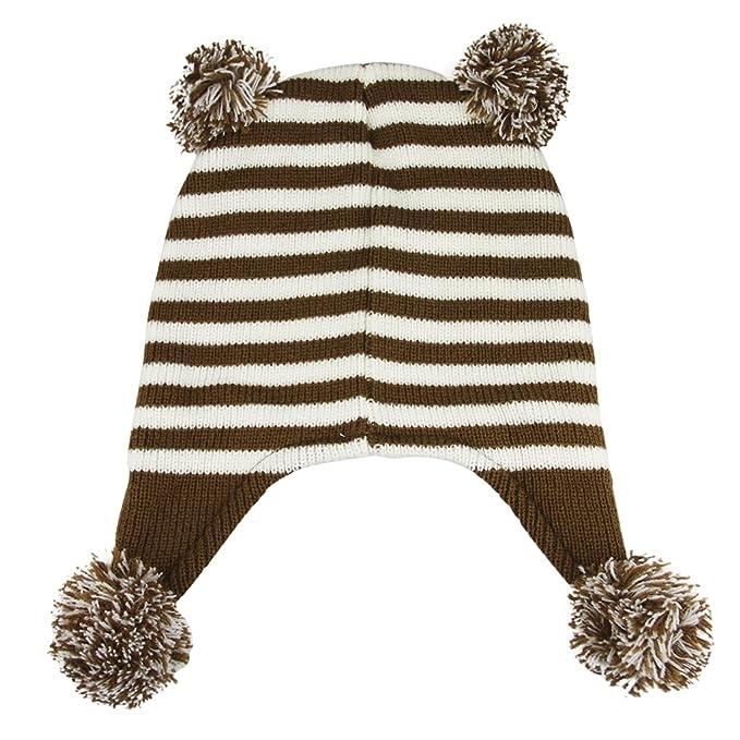 Amazon.com: Fakeface Kids Cute Winter Warm Knitted Hat Beanie Earflap Bear Animal Theme Pom Pom Cotton Knit Crochet Beanie Hats Caps Head Ear Warmer for 2-8 ...