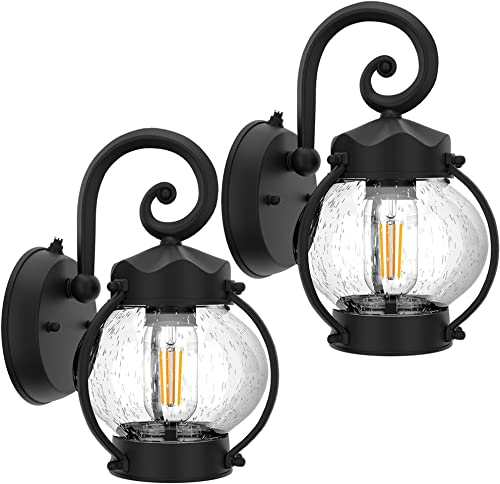 Dusk to Dawn Sensor Outdoor Wall Sconce, Exterior Wall Lantern Porch Light Fixtures, Waterproof Anti-Rust Wall Light with E26 Base LED Bulbs, Matte Black with Seeded Glass for Entryway Doorway, 2 Pack