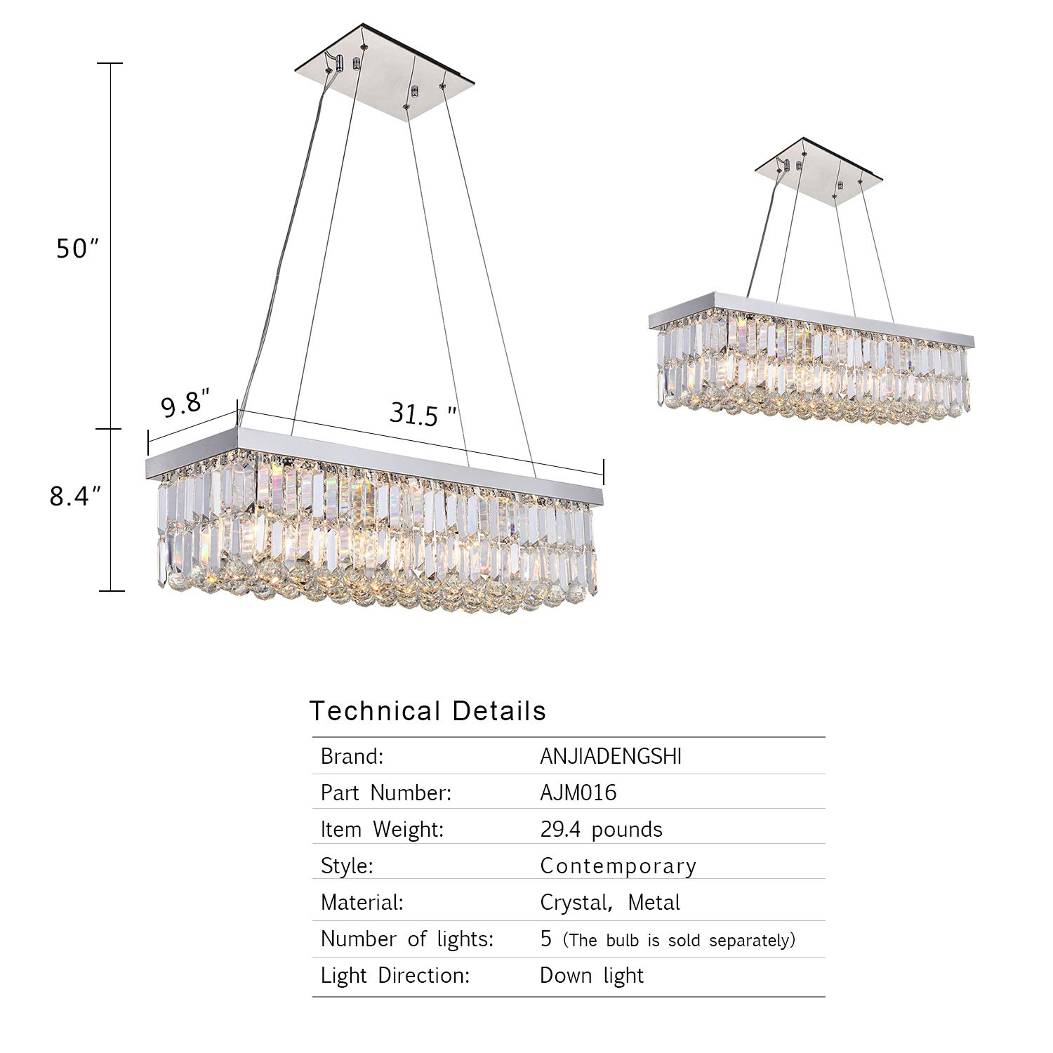 ANJIADENGSHI Modern Traditional Vintage Rectangular Crystal Chandelier Stainless Steel 5 E12 Bulbs with Adjustable Hanging Height for Dining Living Room Foyer Office Chandelier, Chrome