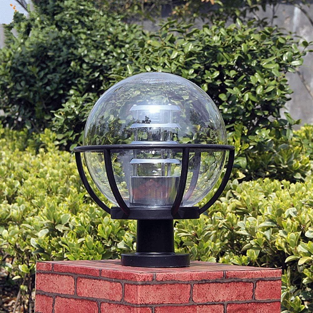 IBalody Moderne Simple Acrylique Globe Porte Cour Colonne Lampe Am/éricain IP42 /Étanche En Plastique En Plein Air Chemin Post Light Garden Park Villa Rue D/écoratif Pilier Lumi/ère Taille : M