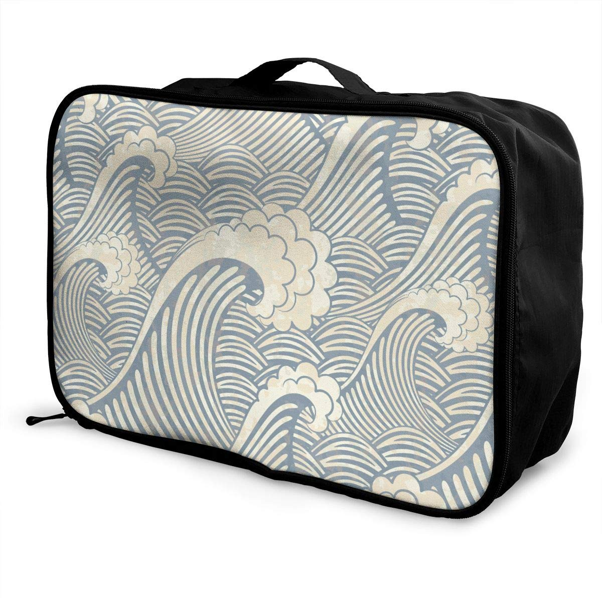 YueLJB Ocean Wave Gray Lightweight Large Capacity Portable Luggage Bag Travel Duffel Bag Storage Carry Luggage Duffle Tote Bag