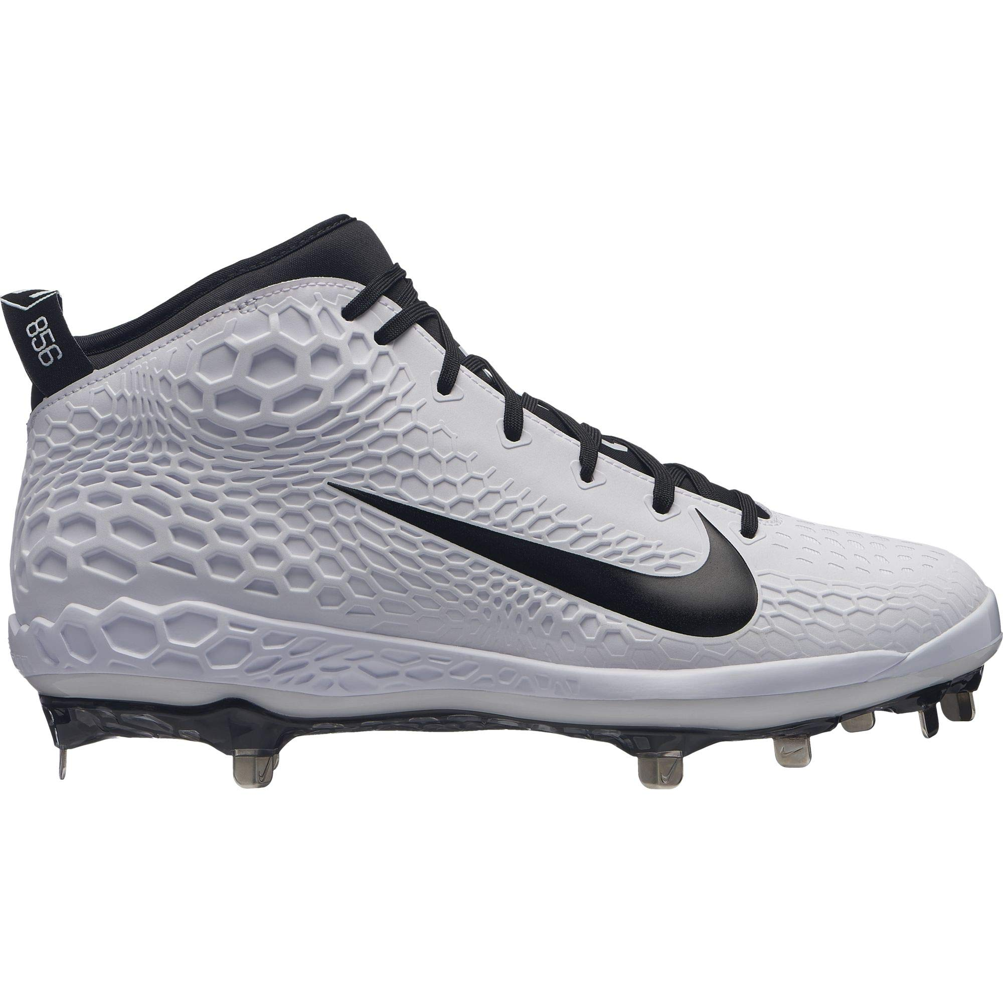 Nike Men's Force Zoom Trout 5 Metal Baseball Cleat (9 M US, White/Black)