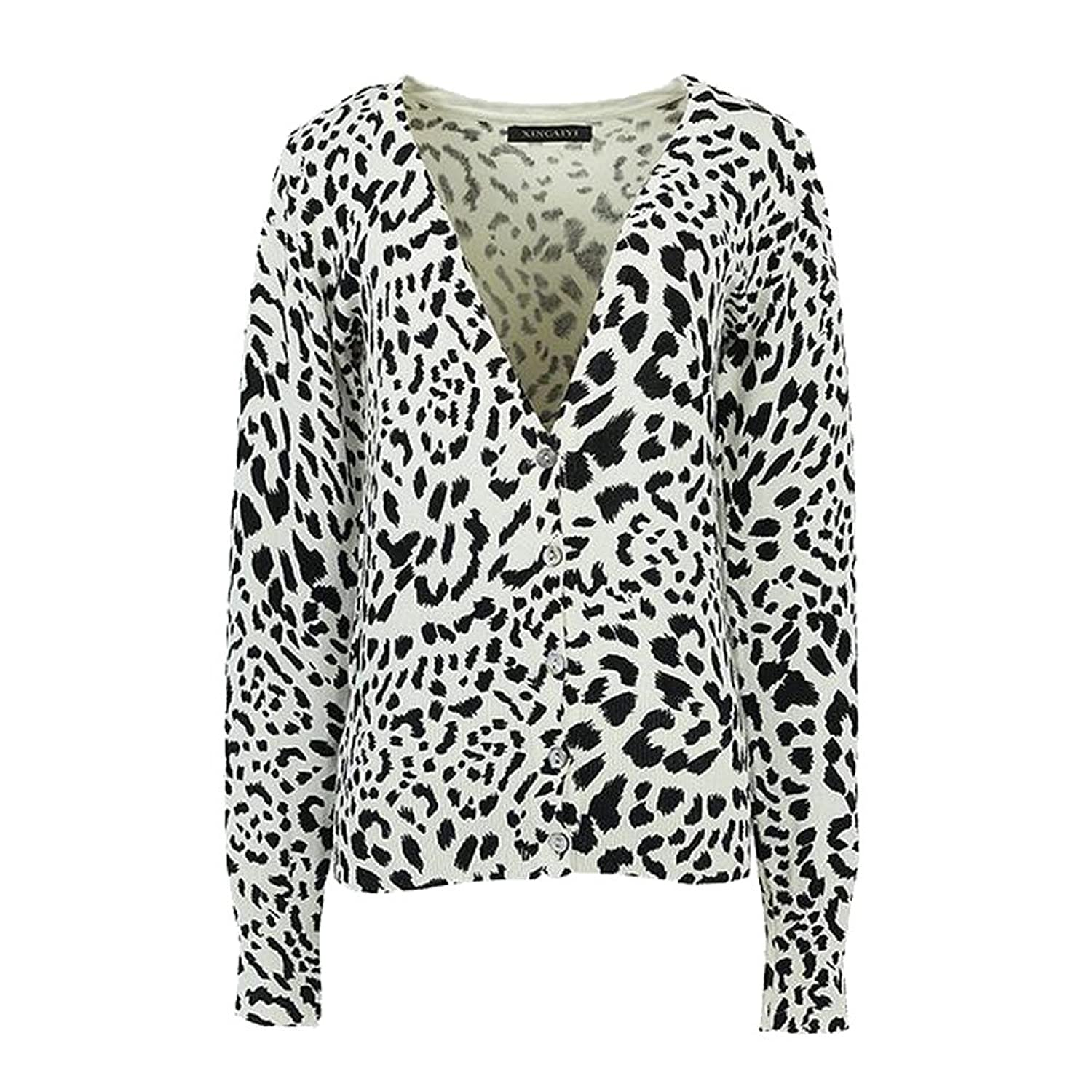 Women's petite leopard printing short V-neck cardigan sweater