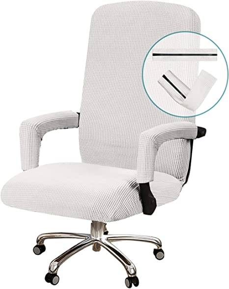 Amazon Com Turquoize Office Chair Cover Stretchable Chair Cover For Office Chair Computer Chair Cover Office Chair Cover With Armrest Covers Jacquard Boss Chair Cover High Back Machine Washable Medium Off White Kitchen Dining