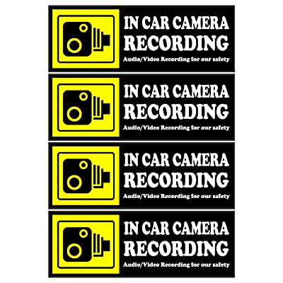 Camera Audio Video Recording Window Cars Stickers – 4 Signs Removable Reusable Indoor Dashcam in Use Vehicles Warning Decals Labels Bumpers Static Cling Accessories for Rideshare Taxi Drivers (Yellow): Arts, Crafts & Sewing