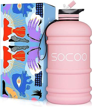 SOXCOXO Half Gallon Water Bottle BPA Free 2.2 Litre Big Water Bottles Leak Proof Large Water Jugs with Spout Gym Water Bottle for Sports Hydrate Water Bottle