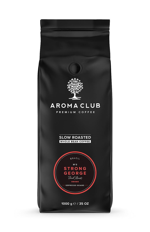 Aroma Club Café en Grano 1kg - Dark Roast Strong George - Café Brasil Tueste Lento - Certificación Carbono Neutro: Amazon.es: Alimentación y bebidas