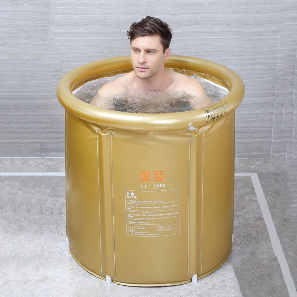 PPBathtub Erwachsene faltende Badewanne-Starke Plastikbadewanne aufblasbare Einfache Badewanne Hauptbadekurort-Badewanne (Farbe : Gold, grö ß e : M)