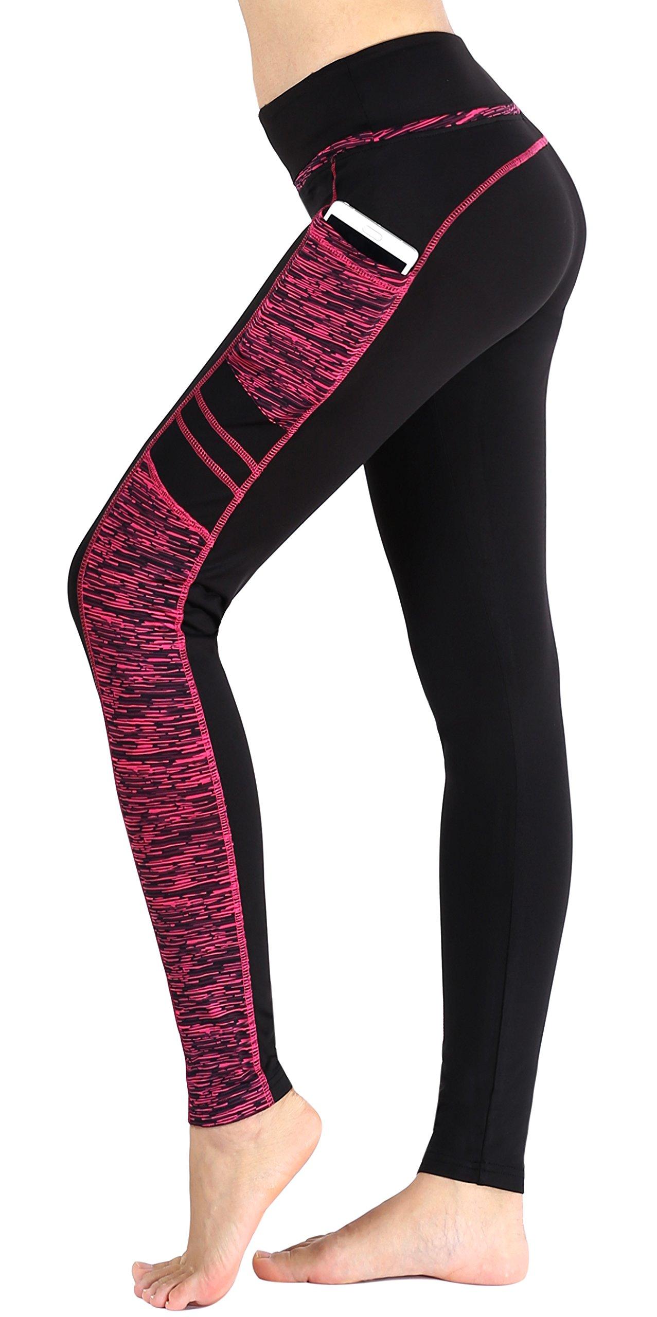 Sugar Pocket Women's Workout Leggings Running Tights Yoga Pants L (Black/Rose)