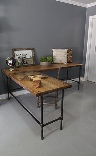 Genial Desk, Wood L Shaped Office Desk, Reclaimed Wood Industrial Pipe Desk, Free  Shipping