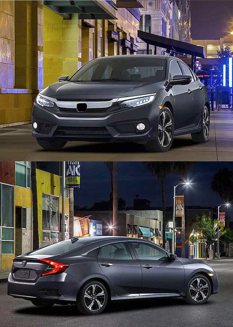 Luces LED delanteras OEM con lente ahumada para civic Coupe Hatchback 2016-2018 con 2 bombillas T10 OEM #H02551127N