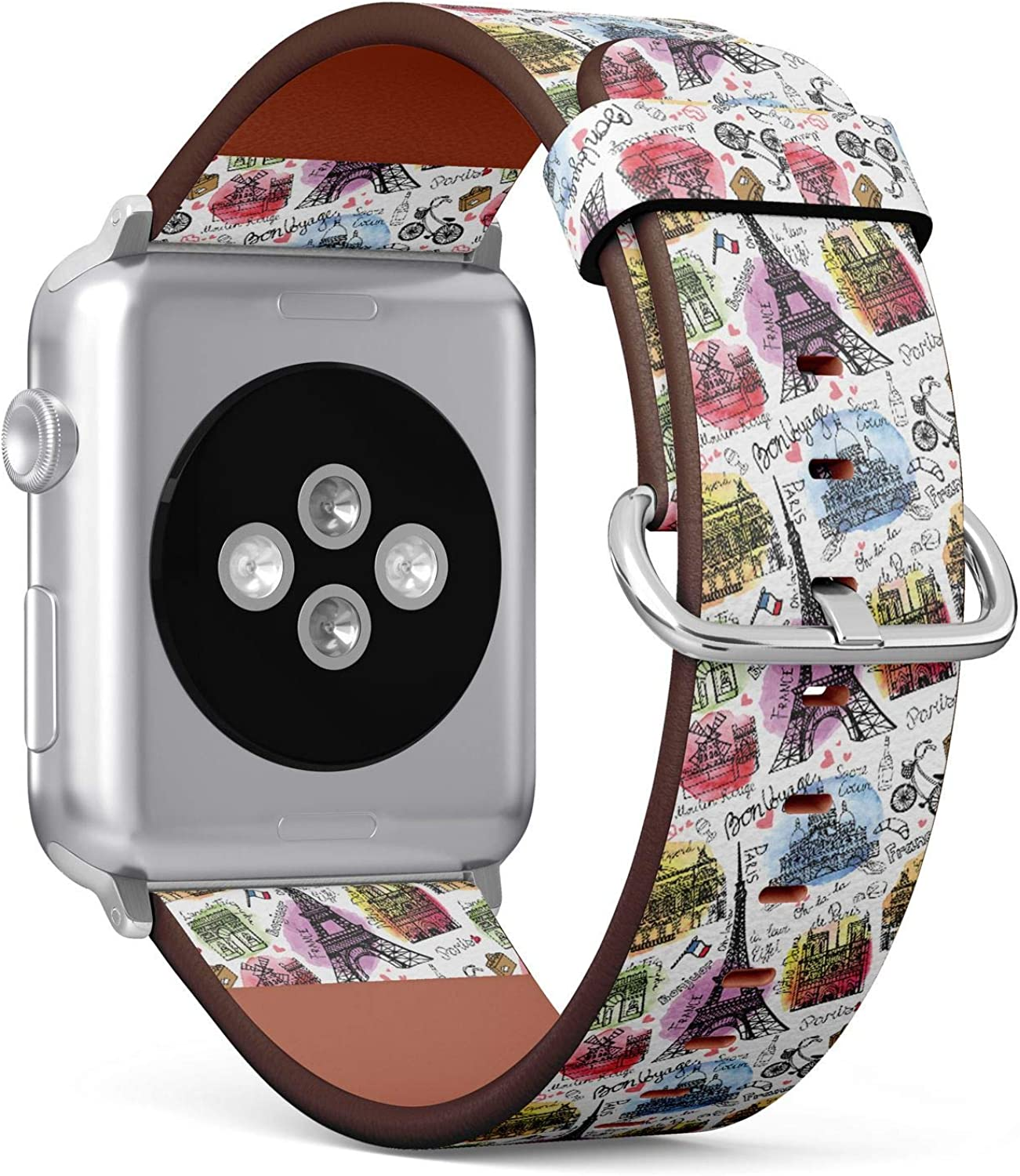 (Watercolor Vintage Doodle of Paris Landmark Notre Dame, Eiffel Tower) Patterned Leather Wristband Strap for Apple Watch Series 4/3/2/1 gen,Replacement for iWatch 38mm / 40mm Bands
